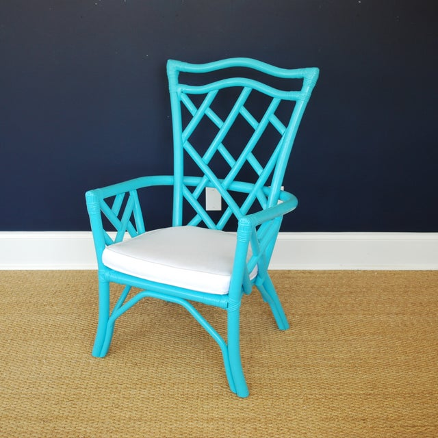 Vintage Rattan Turquoise Chair - Image 2 of 3