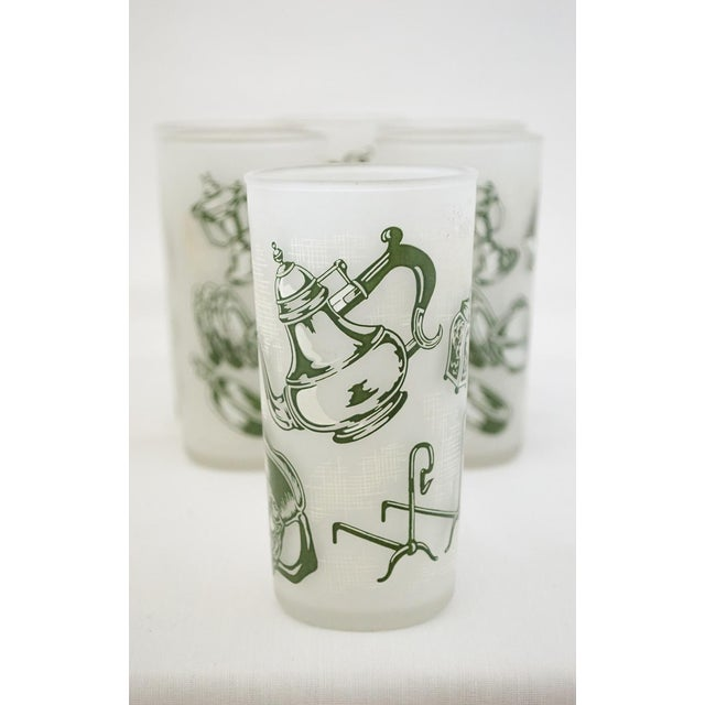 Rare find! This set of six (6) green transferware and milk glass 'Old Curiosity Shop' pattern tumblers were made in the...