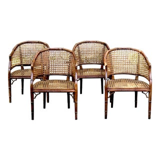 1970s Boho Chic Faux Bamboo Cane Barrel Chairs - Set of 4