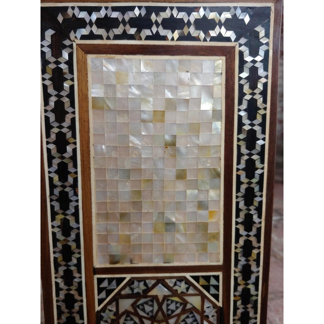 """Wood Syrian Pair of Vintage """"Tower Shaped"""" Petite Inlaid Stands For Sale - Image 7 of 10"""
