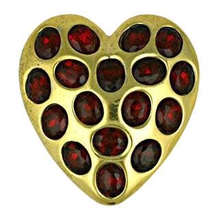 Calvaire Retro Ruby Heart Clip Brooch For Sale