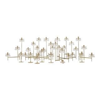 J. & L. Lobmeyr Brass and Swarovski Crystal Candlesticks - 15 Pc. For Sale