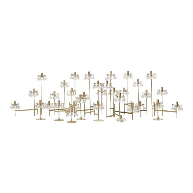 J. & L. Lobmeyr Brass and Swarovski Crystal Candlesticks - 15 Piece For Sale
