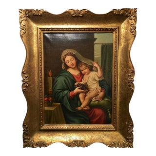 Madonna & Child Oil Painting on Canvas in Italianate Gilt Frame