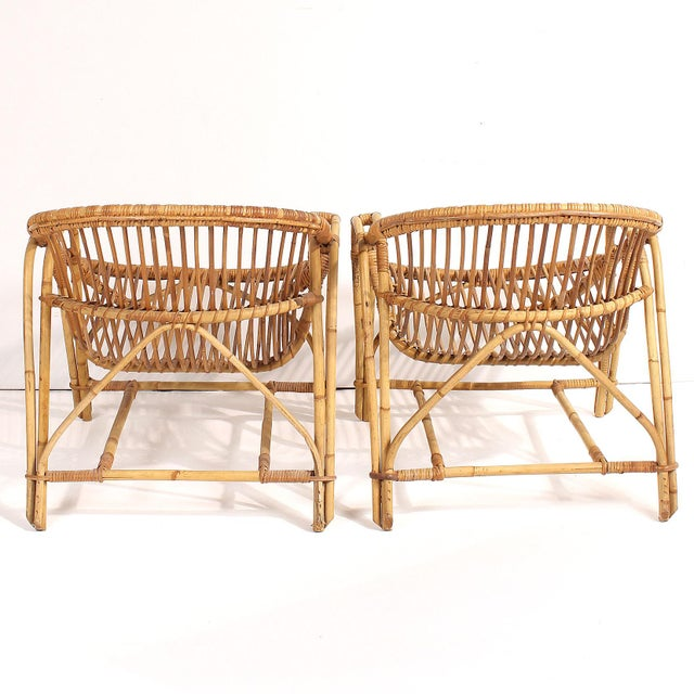 Boho Chic 1960s French Rattan Lounge Chairs - A Pair For Sale - Image 3 of 8