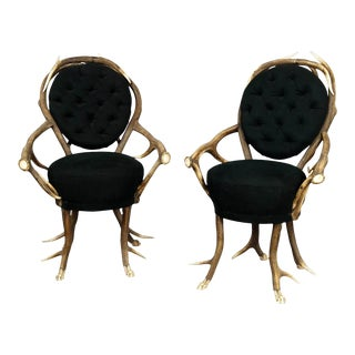 1860s Antler Parlor Chairs- A Pair For Sale