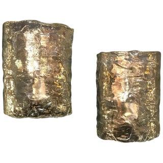 1960s Italian Cylindrical Wall Lights in Frosted Murano Glass-a Pair For Sale