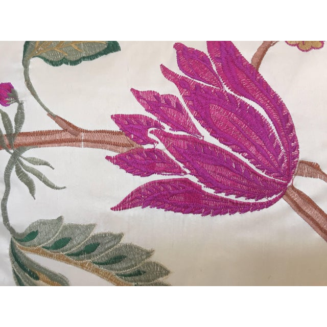Vintage Colorful Silk Pillow With Spring Fresh Flowers Designs and Trim For Sale - Image 9 of 13