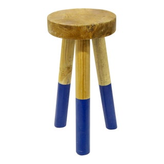 Serena & Lily Cobalt Blue Dip-Dyed Stool For Sale