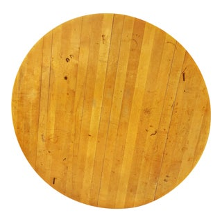 Vintage 3' Wood Butcher Block Round Table Top
