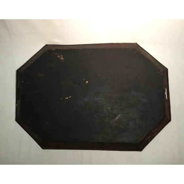 19th C. Scenic Hand Painted Tole Tray Table For Sale - Image 11 of 13