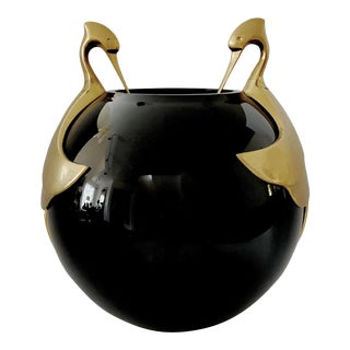 Vintage Black Glass Orb Vase With Brass Birds For Sale