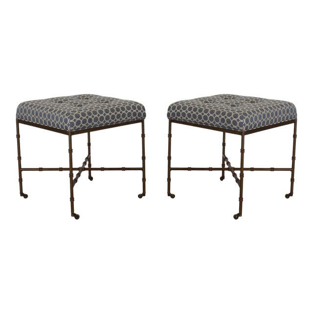 Pair of Mid-Century Metal Benches With Blue Cushions Tops For Sale