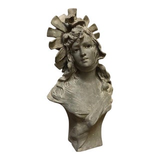French Anton K. Nelson Metal Lady's Bust Sculpture For Sale
