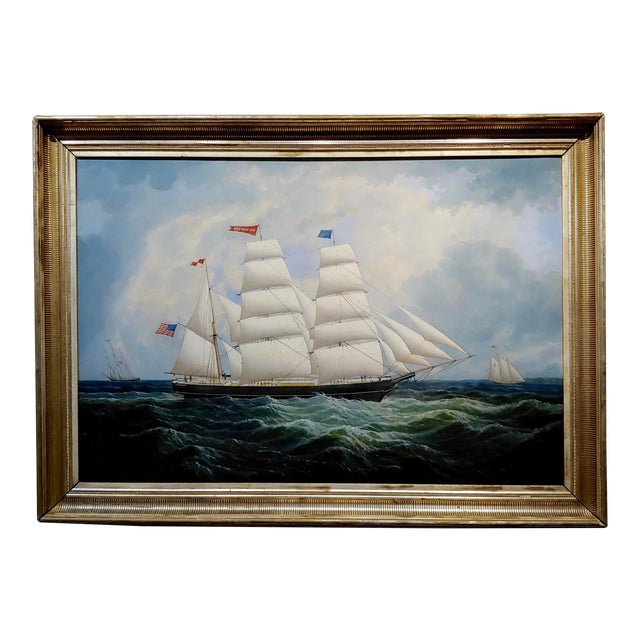 19th Century Portrait of an American Sailing Ship- Oil Painting -C1860s For Sale