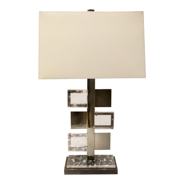 Arteriors Modern Steel and Crystal Pearlman Table Lamp For Sale