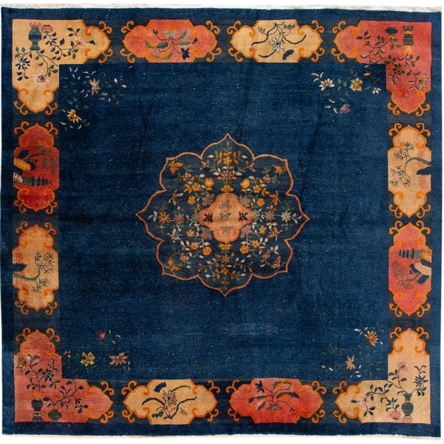 Early 20th Century Antique Art Deco Chinese Square Wool Rug 13 X 12 For Sale