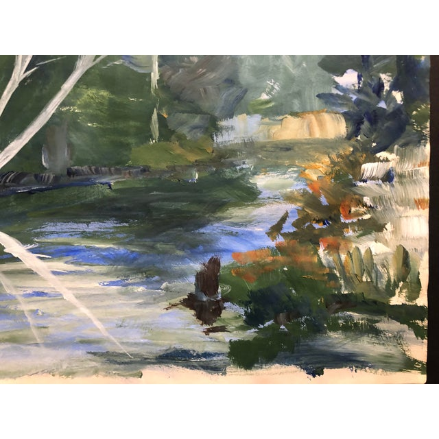 Impressionist Impressionist Oil on Paper Landscape by Fabian 1970 For Sale - Image 3 of 7