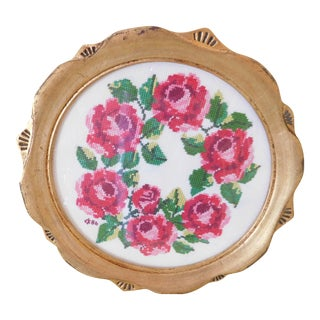 Vintage Rose Needlepoint Mini Tray/Framed Wall Hanging For Sale