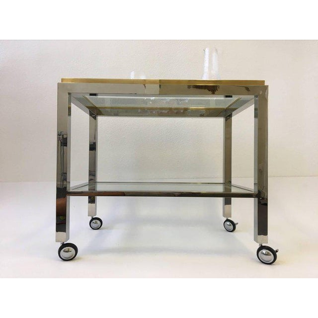 Chrome and Brass Bar Cart by Renato Zevi For Sale - Image 9 of 10