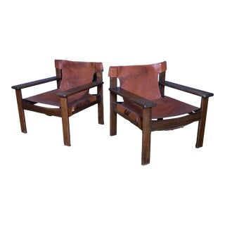 Pair 1970s Saddle Leather Arm Chairs, Mobring Style For Sale