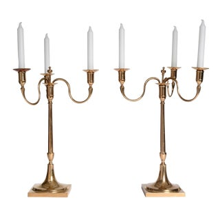 Large Pair of Swedish Brass Candelabra from Skultuna For Sale