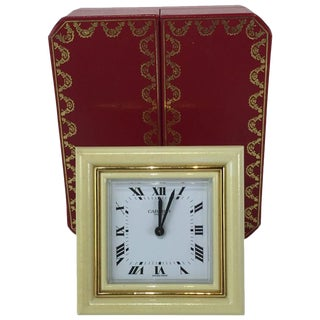 Gilt Bronze and Enamel Cartier Clock