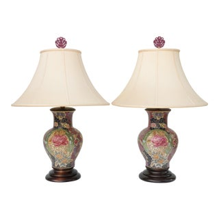 Frederick Cooper Mosaic Chinoiserie Table Lamps - a Pair For Sale