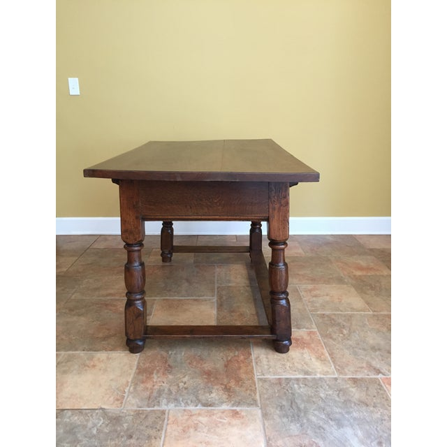 Early 19th century hand hewn mahogany table/desk with one drawer. Top lifts off to reveal finely crafted knotched fittings...