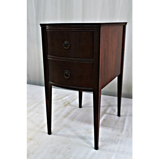 Gorgeous two drawers single nightstand retailed by Flint & Horner circa 1920. Shape laurel wreath brass handles. Drawer,...