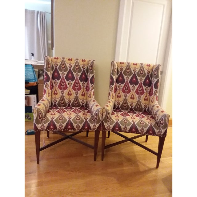 Brass Modern Pearson Upholstered Chairs- a Pair For Sale - Image 7 of 7