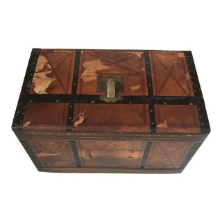 Trunk - Vintage Distressed Leather & Wood For Sale