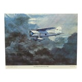 "Image of 1970s Vintage ""First Round the World Solo Flight"" Charles H. Hubbell Original Best of Hubbell Aircraft Print For Sale"
