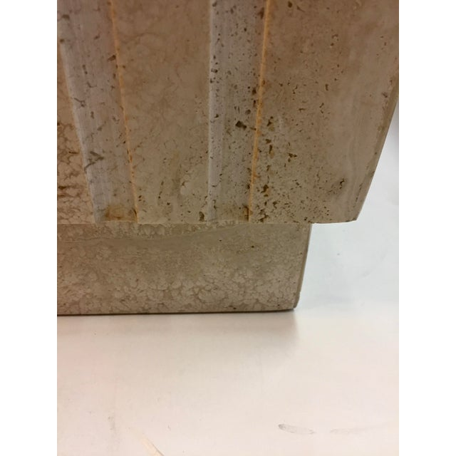 Stone Vertical Cut Travertine Console Pedestal For Sale - Image 7 of 10