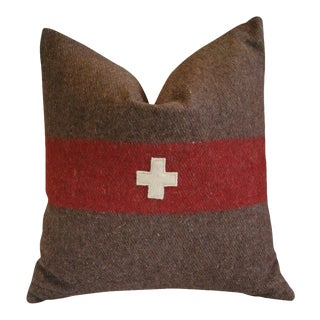 Swiss Appliqué Cross Wool & Linen Feather/Down Pillow For Sale
