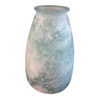 Vintage Aqua Green Glass Vase For Sale