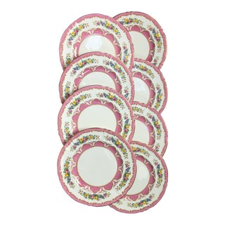 Crown Staffordshire Lyric Tunis Pink Dinner Plates Set of 8 For Sale