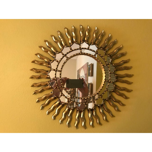 1970s Mid Century Modern Sunburst Gold Wood Wall Mirror - Image 4 of 4