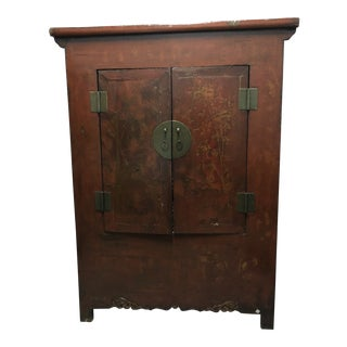 Vintage Dark Wood Asian Style Armoire For Sale