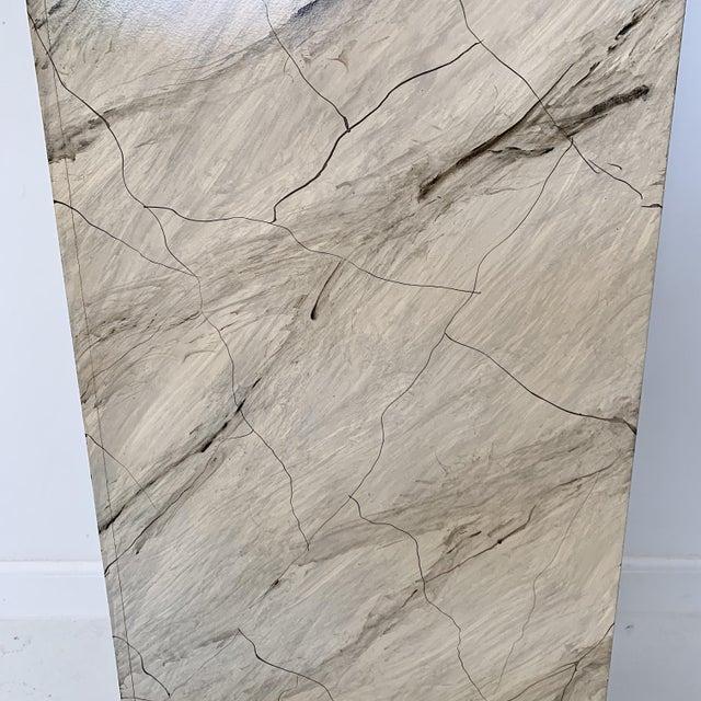 Wood 1970s Vintage Faux Marble Pedestal For Sale - Image 7 of 10