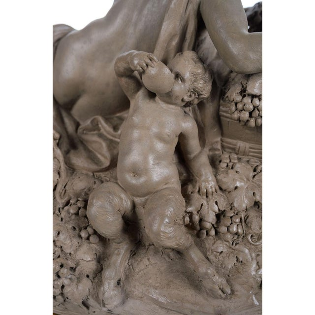 Gray Bacchus & Satyrs eating Grapes and drinking Wine - Gorgeous 19th century Terracotta sculpture by French artist Clodion-Signed For Sale - Image 8 of 10