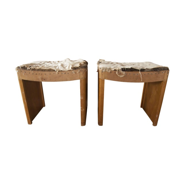 Distressed Vintage Wooden Stools - A Pair For Sale