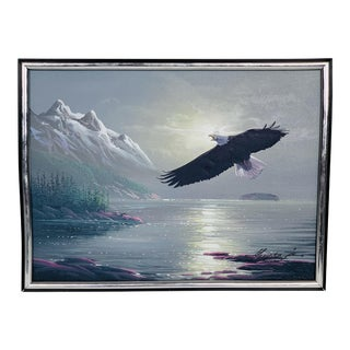 1980s Americana Oil Painting of Majestic Eagle in Flight Over a Lake and Mountains For Sale