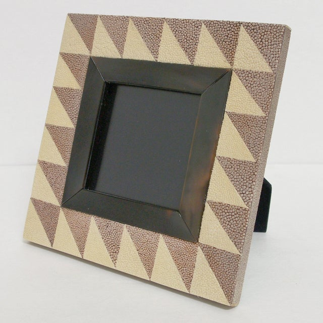 Thai ivory and brown shagreen and black horn photo frame by Fabio Bergomi Depth: 5 inches / Width: 7 inches / Height: 7...