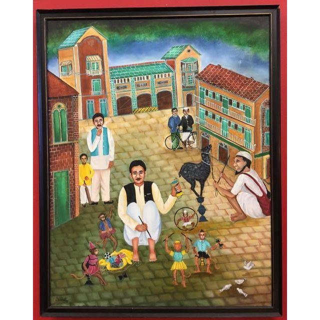 Asian Naina Kanodia Original Oil Painting, Art Naif From India For Sale - Image 3 of 11
