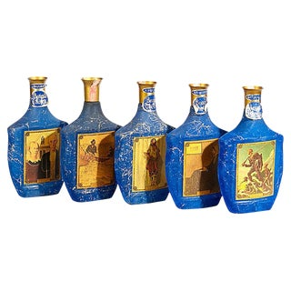 1960s Blue Velvet Bar Bottles, Set of 5 For Sale