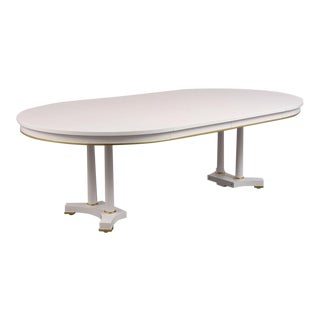 Traditional Extendable White Lacquered Finish Dining Table by Baker For Sale