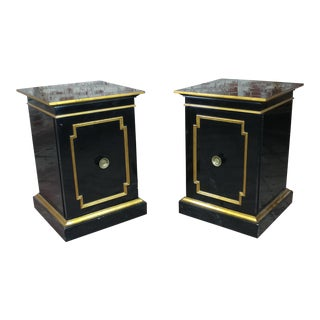 1950s Hollywood Regency Black Ebonized Night Stands - a Pair