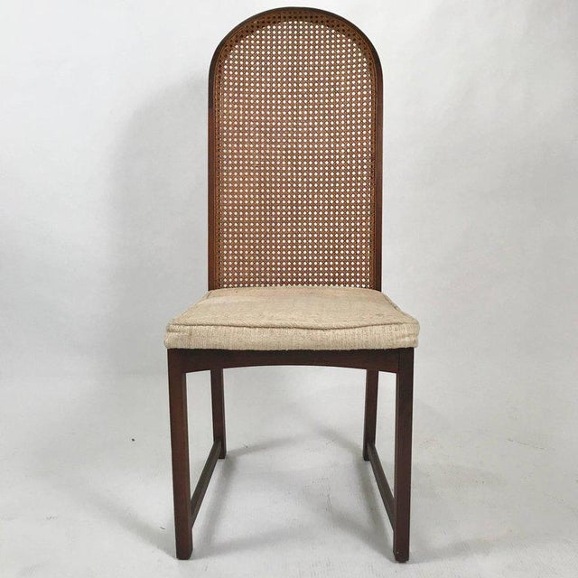 Mid-Century Modern Set of Six Milo Baughman High Back Cane and Walnut Dining Chairs for Directional For Sale - Image 3 of 11