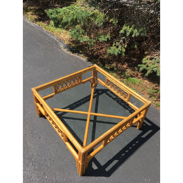 1960s Rattan Glass Top Table For Sale - Image 5 of 5